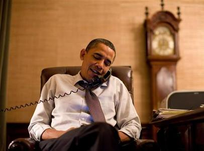President Barack Obama makes an election night phone call to Rep. John Boehner from his Treaty Room office in the White House, November 3, 2010. REUTERS/Pete Souza/White House/Handout