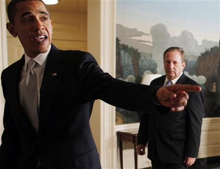 U.S. President Barack Obama (L) and Chairman of the White House's National Economic Council Larry Summers leave an announcement on their meeting with the ranking members of the Senate Banking and the House Financial Services Committees at the White House in Washington, in this February 25, 2009 file photo. REUTERS/Jim Young/Files