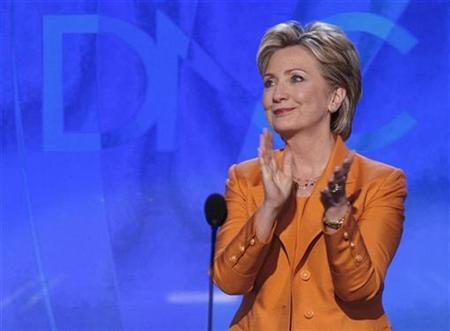 Hillary Clinton addresses the 2008 Democratic National Convention in Denver, August 26, 2008. REUTERS/Mike Segar