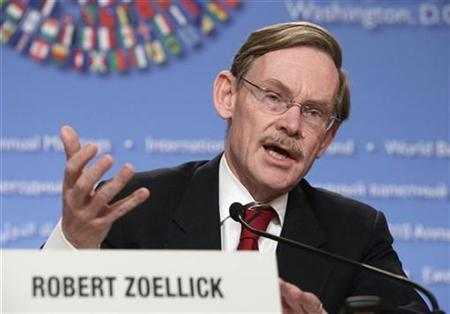 World Bank President Robert Zoellick speaks at the Development Committee news conference during the annual IMF-World Bank meetings in Washington October 9, 2010. REUTERS/Yuri Gripas