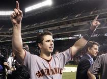 <p>San Francisco Giants' Buster Posey celebrates after defeating the Texas Rangers in Major League Baseball's World Series in Arlington, Texas, November 1, 2010. REUTERS/Mike Segar</p>