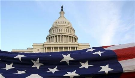 A U.S. Flag is displayed in front of the Capitol during a Flag Ceremony hosted by the Tea Party Patriots in Washington, November 2, 2010. REUTERS/Molly Riley