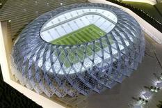 <p>Maquete do estádio Al-Wakrah, em Doha, que será utilizado caso o Catar seja eleito a sede da Copa do Mundo de 2022. REUTERS/Fadi Al-Assaad</p>