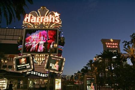 A view of the marquee sign in front of the Harrah's Las Vegas casino on the Las Vegas Strip in Nevada in this December 12, 2007 file photo. REUTERS/Las Vegas Sun/Steve Marcus/Files
