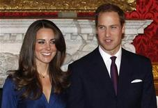 <p>Britain's Prince William and his fiancee Kate Middleton pose for a photograph in St. James's Palace in central London.</p>