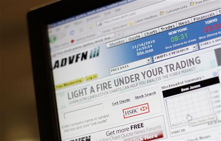 A screen shows the home page of the Advanced Financial Network (ADVFN) website November 18, 2010. REUTERS/Simon Newman
