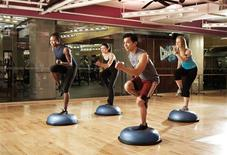 <p>A Bosu Bootcamp class at Crunch in New York City is seen December 2009, in this handout photo. REUTERS/Crunch/Handout</p>