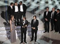 "<p>Kathryn Bigelow (L), Mark Boal (C), and Greg Shapiro (R) accept the award for best motion picture for 'The Hurt Locker"" during the 82nd Academy Awards in Hollywood, March 7, 2010. REUTERS/Gary Hershorn</p>"
