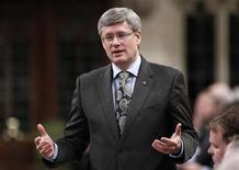 <p>Canada's Prime Minister Stephen Harper speaks during Question Period in the House of Commons on Parliament Hill in Ottawa November 25, 2010. REUTERS/Chris Wattie</p>