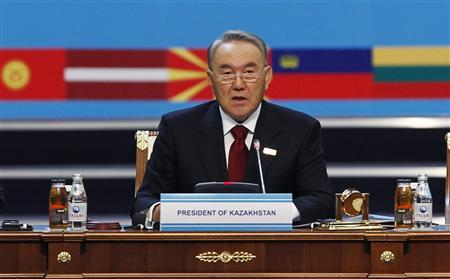 Kazakhstan's President Nursultan Nazarbayev delivers a speech at the start of the Organisation for Security and Cooperation in Europe (OSCE) Summit in Astana December 1, 2010. The OSCE opened its summit in Kazakhstan's capital amid tight security on Wednesday to discuss issues ranging from Afghanistan to terrorism and drug trade. REUTERS/Francois Lenoir