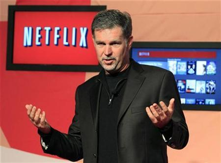 Netflix Chief Executive Officer Reed Hastings speaks during the launch of streaming internet subscription services for movies and television shows to televisions and computers in Canada, at a news conference in Toronto September 22, 2010. REUTERS/ Mike Cassese
