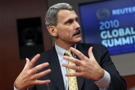 Daniel Moloney, president of Motorola's Home business Motorola Mobility, speaks at the Reuters Global Media Summit in New York, December 1, 2010. REUTERS/Mike Segar