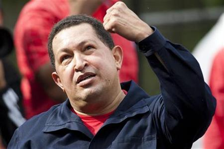 Venezuelan President Hugo Chavez gestures during a rally to celebrate Students' Day in Caracas November 21, 2010. REUTERS/Carlos Garcia Rawlins