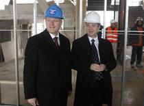 <p>Prime Minister Stephen Harper (L) and Sheridan College President Jeff Zabudsky tour the construction site of the new college campus in Mississauga December 2, 2010. REUTERS/Mike Cassese</p>