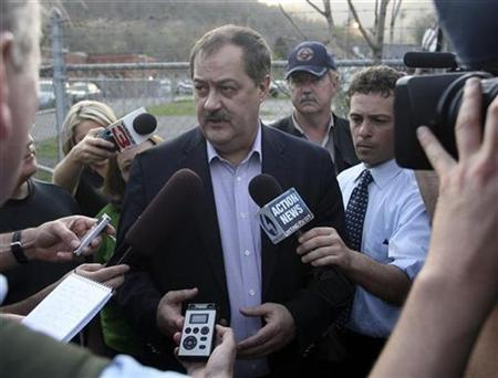 Don Blankenship, CEO of Massie Energy, talks with reporters near the Upper Big Branch Mine in Montcoal, West Virginia, April 6, 2010. Rescue crews moved giant drills to a West Virginia coal mine Tuesday in hopes of boring deep inside to find four miners missing after an explosion that killed at least 25 of their co-workers in the worst U.S. mine disaster in a quarter century. REUTERS/Mike Munden