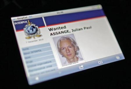 A wanted page for WikiLeaks founder Julian Assange is seen on the Interpol Internet website taken December 7, 2010. REUTERS/Tim Chong