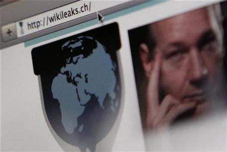 A screen shot of a web browser displaying the WikiLeaks website with a picture of its founder Julian Assange in Bern December 4, 2010.REUTERS/Pascal Lauener
