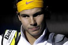 <p>Spain's Rafael Nadal arrives for his singles match against Switzerland's Roger Federer at the ATP World Tour Finals in London November 28, 2010. REUTERS/Suzanne Plunkett</p>