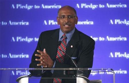 Republican National Committee Chairman Michael Steele speaks during a Republican election night results watch rally, in Washington, November 2, 2010. REUTERS/Jim Young