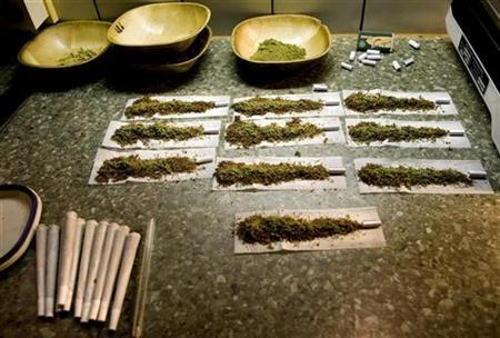 Joints containing weed are seen at a coffee shop in the southern Dutch city of Bergen op Zoom November 18, 2008. REUTERS/Jerry Lampen