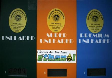 A fuel pump at a gas station in Des Moines advertises E85 ethanol fuel, December 6, 2007. REUTERS/Jason Reed