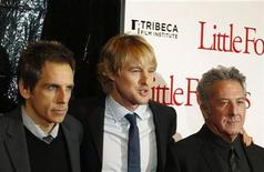 "<p>Cast members (L-R) Ben Stiller, Owen Wilson, and Dustin Hoffman arrive at the premiere of the movie ""Little Fockers"" in New York December 15, 2010. REUTERS/Lucas Jackson</p>"