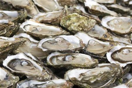 Oysters from oyster farms are seen in this file photo. The most common triggers of food allergies include milk, eggs, soy, wheat, shellfish, peanuts and tree nuts, like almonds, walnuts and cashews. REUTERS/Olivier Pon