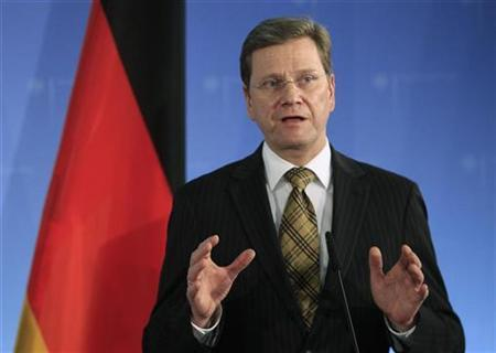 German Foreign Minister Guido Westerwelle speaks during a news conference after talks with Cyprus Foreign Minister Markos Kyprianou (not pictured) at the foreign ministry in Berlin, December 8, 2010. REUTERS/Thomas Peter