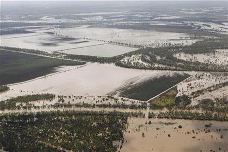 Überflutete Gebiete nahe der Kleinstadt Theodore in Queensland am 2. Januar 2011. REUTERS/Daniel Munoz