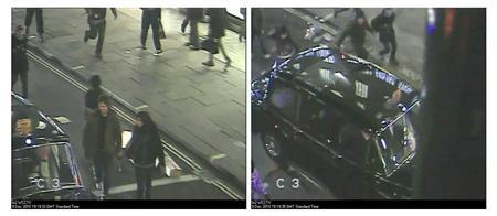 A woman (at right in first photo, top left in second) wanted for questioning by police is seen in still photographs captured from surveillance video, supplied by the Metropolitan Police, as Prince Charles' limousine passes in the Regent's Street area of London in December 9, 2010. REUTERS/Metropolitan Police/handout