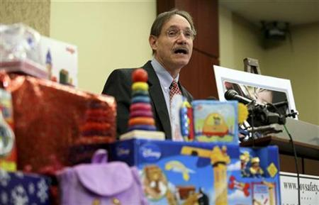 U.S. Consumer Product Safety Commissioner Robert Adler speaks during a news conference in which U.S. Public Interest Research Group (PIRG) announced its 25th annual Trouble in Toyland report, in Washington November 23, 2010. REUTERS/Molly Riley