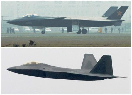 Combination photo shows what is reported to be a Chinese J-20 stealth fighter (top) in Chengdu, Sichuan province, dated January 7, 2011 and a U.S. Air Force F-22 Raptor stealth fighter performing a flyby over Daytona Beach, Florida on February 19, 2006. REUTERS/Kyodo/Pierre DuCharme/Files