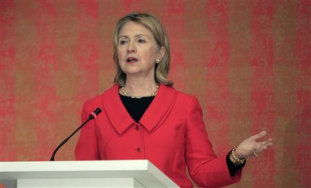 Secretary of State Hillary Clinton speaks about Lebanon at a news conference in Doha, January 11, 2011. REUTERS/Mohammed Dabbous