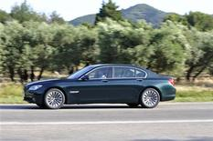 <p>A similiar BMW 750i in an image courtesy of BMW. The stolen car was a BMW 750i xDrive Sedan and the color was Dark Graphite Metallic. REUTERS/BMW</p>