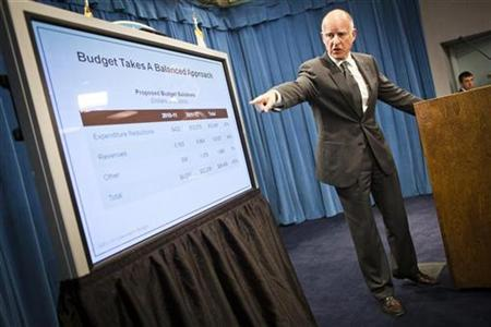 California Governor Jerry Brown introduces his budget proposal in Sacramento, California January 10, 2011. REUTERS/Max Whittaker