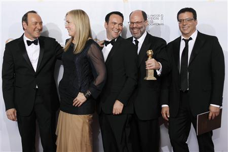 (L-R) Executive producer Kevin Spacey, producers Cean Chaffin, Dana Brunetti, Scott Rudin, and Michael De Luca pose with their award for Best Motion Picture - Drama 'The Social Network', at the 68th annual Golden Globe Awards in Beverly Hills, California, January 16, 2011. REUTERS/Lucy Nicholson