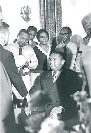 Jean-Claude ''Baby Doc'' Duvalier (sitting) receives journalists in Haiti's presidential palace in April 1971 after he has been declared president-for-life on the death of his father, Papa Doc. To his right holding a military cap, is Claude Raymond, then army chief and a key power behind the throne. REUTERS/Stringer