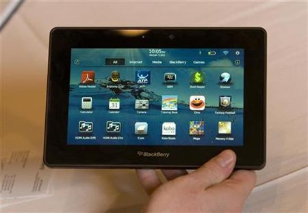 Jeff McDowell, senior vice president of enterprise and platform marketing for Research in Motion, holds a prototype Blackberry PlayBook, a seven-inch tablet, during an interview at the 2011 International Consumer Electronics Show (CES) in Las Vegas, Nevada January 5, 2011. REUTERS/Steve Marcus