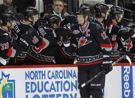 Carolina Hurricanes' Eric Staal in Raleigh, North Carolina January 11, 2011. REUTERS/Ellen Ozier