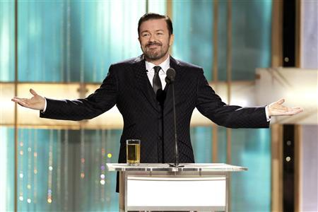 Host Ricky Gervais speaks at the 68th annual Golden Globes Awards in Beverly Hills, California January 16, 2011. REUTERS/Paul Drinkwater/NBC