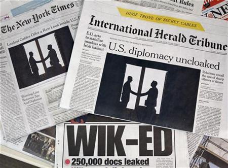 Newspaper fronts reporting on the documents released by the whistle-blowing website WikiLeaks are seen in New York, November 29, 2010. REUTERS/Shannon Stapleton