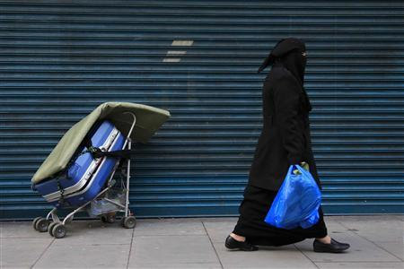 A Muslim woman walks in east London January 20, 2011. REUTERS/Stefan Wermuth