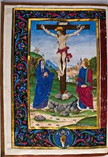 A crucifixion scene from a late 15th century Vatican manuscript that is among those rescued from Napoleon's armies and rediscovered in the late 1990s is seen in this photograph released to Reuters on January 21, 2011. REUTERS/Meadows Museum/Handout