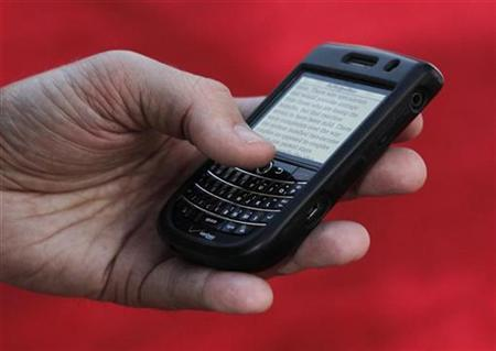 A Blackberry Tour device is shown in use in Hollywood, California November 4, 2010. REUTERS/Fred Prouser