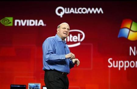 Microsoft CEO Steve Ballmer delivers his keynote address on the eve of the Consumer Electronics Show in Las Vegas, Nevada, January 5, 2011. REUTERS/Rick Wilking