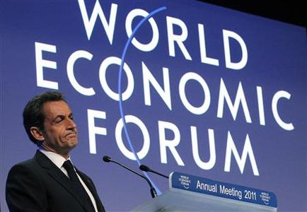 France's President Nicolas Sarkozy speaks at a session at the World Economic Forum (WEF) in Davos January 27, 2011. REUTERS/Christian Hartmann