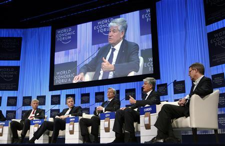 McKinsey & Company Worldwide Managing Director Dominic Barton, Alcoa Chairman and Chief Executive Officer Klaus Kleinfeld, JP Morgan Chase Chief Executive Officer Jamie Dimon, Publicis Groupe Chairman and Chief Executive Officer Maurice Levy and Metro Group Chief Executive Officer Eckhard Cordes (L-R) take part in a panel discussion titled ''The Next Shock: Are We Better Prepared?'' at the World Economic Forum (WEF) in Davos, January 27, 2011. REUTERS/Vincent Kessler