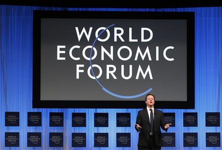 Prime Minister David Cameron speaks during a session at the World Economic Forum (WEF) in Davos January 28, 2011. REUTERS/Christian Hartmann