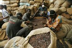 <p>Men grade cocoa beans in a warehouse in Gonate, western Ivory Coast, September 22, 2008. REUTERS/Luc Gnago</p>