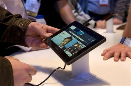 The Blackberry PlayBook tablet is displayed at the Research in Motion (RIM) booth during the 2011 International Consumer Electronics Show (CES) in Las Vegas, Nevada January 7, 2011. REUTERS/Steve Marcus